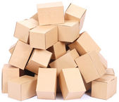 Heap brown cardboard boxes — Stock Photo