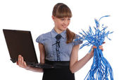 Girl in one hand holds the big sheaf of network wires RJ45 — ストック写真