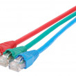 Macro close-up RJ45 network plugs red blue and green - Stock Photo