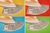 Dollars lay under an electric iron — Stock Photo