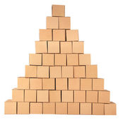 Cardboard boxes.Pyramid from boxes — Stock Photo
