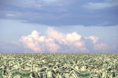 Sea of money or money land — Stock Photo