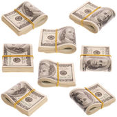 Nine pack of money on white background — Stock Photo