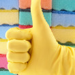 Yellow rubber glove — Stock Photo #5113324