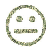 Symbol of indifference combined from dollars — Stock Photo