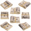 Stock Photo: Nine pack of money on white background