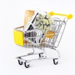 Gifts in a shopping-cart — Stock Photo
