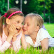 Two pretty young girls on a grass — Stock Photo