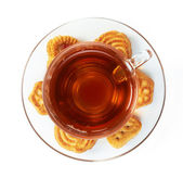 Cup of hot tea with cookies — Stock Photo