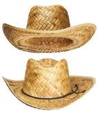Sarı hasır hasır şapka — Stok fotoğraf