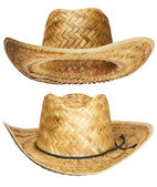 Yellow wicker straw hat — 图库照片