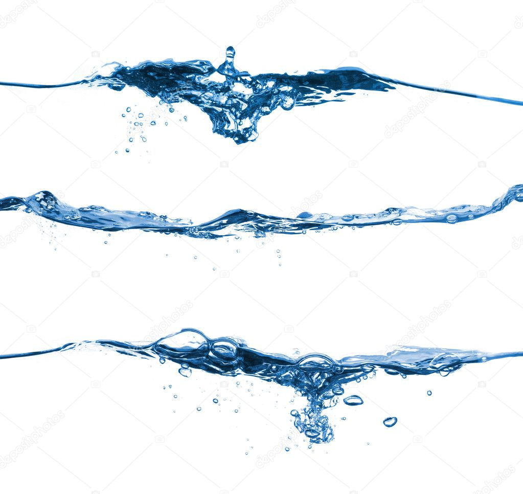 Set of water splashing isolated on white background  Stock Photo #4350040