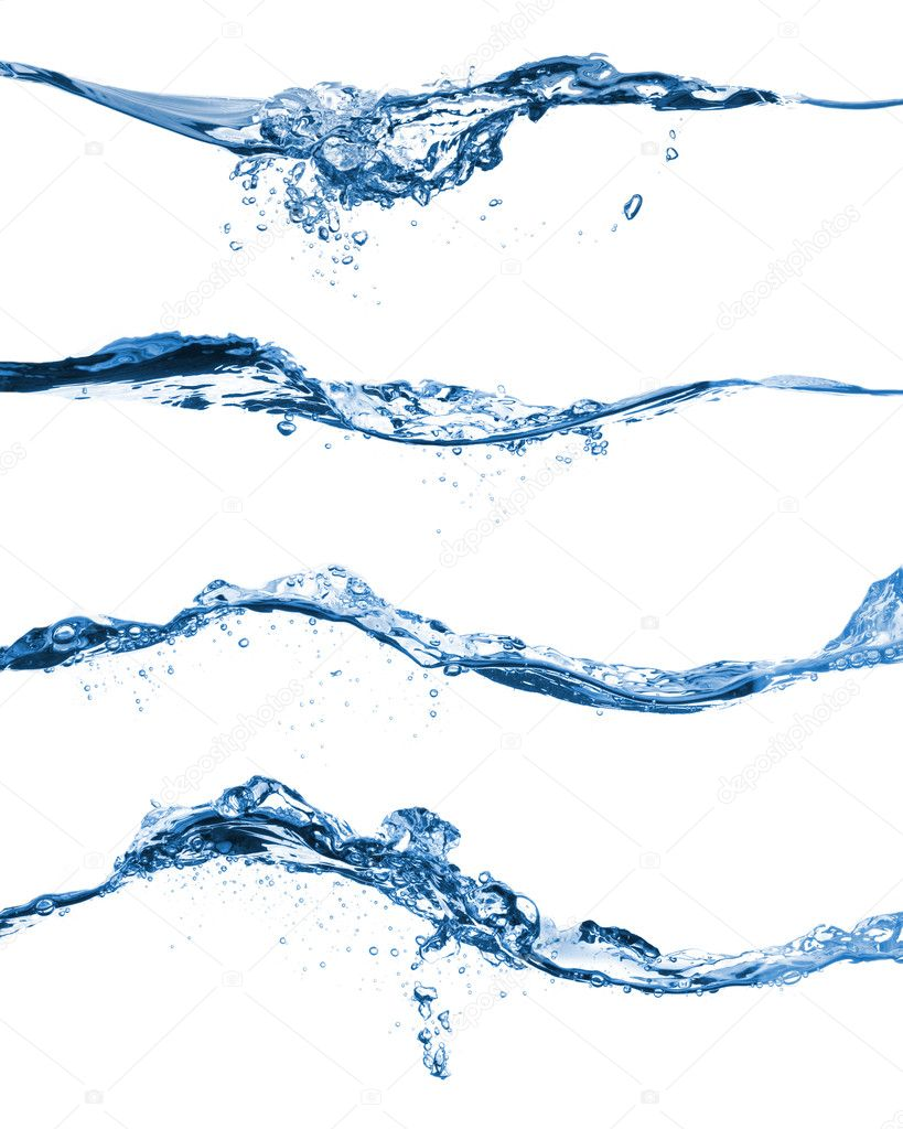 Set of water splashing isolated on white background  Stock Photo #4350042