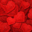 Background from red roses in the form of heart — Stock Photo