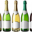 Set 5 bottles with white labels — Stock Photo #4677681
