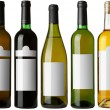Set 5 bottles with white labels - Stock Photo