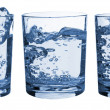 Set of glasses water splash — Stock Photo