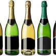 Set 5 bottles with black labels - Foto Stock