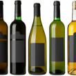 Stock Photo: Set 5 bottles with black labels