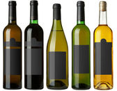 Set 5 bottles with black labels — Stock Photo