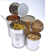 Group of Preserved Canned Vegetables — Stock Photo