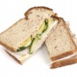Turkey and Cucumber Sandwich on Wheat Bread — Stock Photo