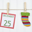 Holiday Stocking or Sock on a Clothesline — Stock Photo