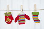 Set of Winter Clothing on a Clothesline — Stock Photo