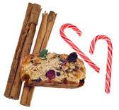Torta alla frutta cannella cibi vacanza e candy cane caramelle — Foto Stock