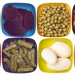 Stock Photo: Variety of Canned Vegetables in Colorful Bowls