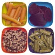 Carrots, Beets, Asparagus and Black Eyed Peas in Colorful Bowls. - Zdjęcie stockowe