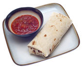 Delicious Burrito with Salsa — Stock Photo