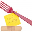 Fork with Bandage Food Safety Concept — Stock Photo