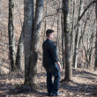 Man Walking in the Woods — Foto Stock