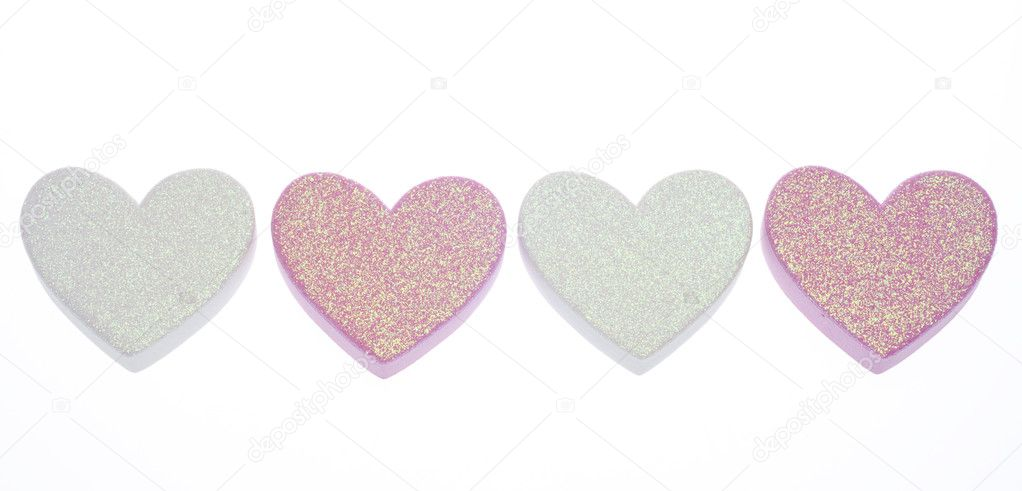 Red Heart White Background Red And White Glitter Hearts