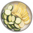 Bowl of Sliced Squash and Zucchini - ストック写真