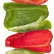 Fresh Cut Green and Red Bell Peppers — Zdjęcie stockowe