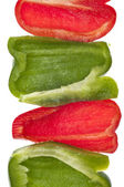 Fresh Cut Green and Red Bell Peppers — Stock Photo