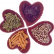 Heart Healthy Diet - Carrots, Asparagus, Black Eyed Peas and Bee — Stock Photo