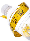 Water Bottle with Measuring Tape Healthy Lifestyle — Stock Photo