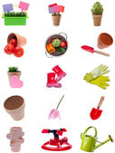 Collage Montage of Garden Items — Stock Photo