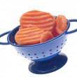 Carrot Slices in Blue Colander — Foto Stock