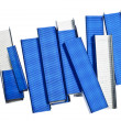Stack of Blue Staples - Stock Photo
