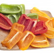 Sliced Green, Red and Orange Bell Peppers - Stock Photo