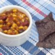 Stock Photo: Black BeDip with Blue Corn TortillChips