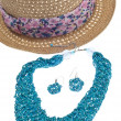 Summer Fashion Hat and Jewelry — Stock Photo