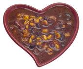 Black Bean Dip in a Heart Shaped Bowl — Stock Photo