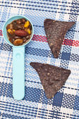 Blue Corn tortilla Chips with Bean Dip — Stock Photo