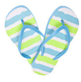 Blue and Green Flip Flop Sandals in Heart Shape — Stock Photo