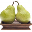 Pair of Pears on a Golden Dish — Stockfoto